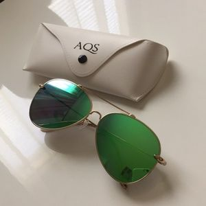 AQS Tommie 60mm Aviator Sunglasses GOLD/GREEN New